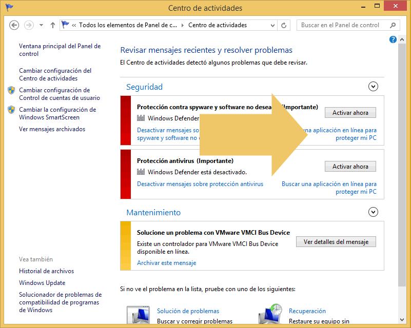 activar ahora windows defender centro actividades