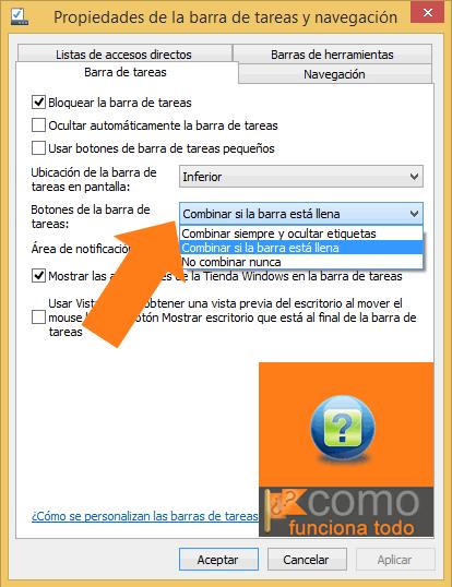 desagrupar las ventanas de la barra de tareas de Windows 8