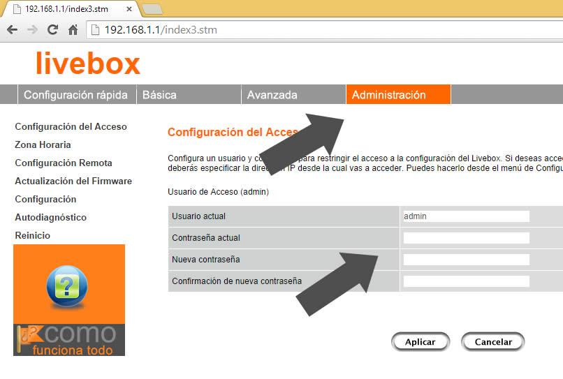 cambiar usuario y clave router orange