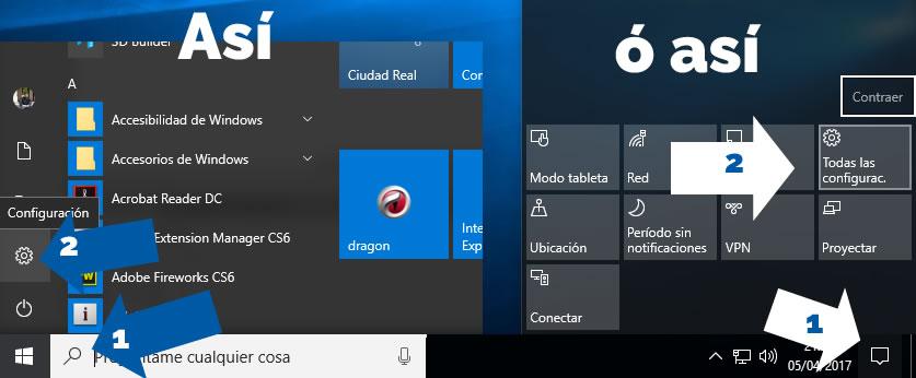 Click en icono de windows 10 y luego en configuracion