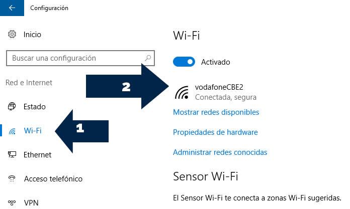 seleccionamos wifi y luego en nuestra conexion