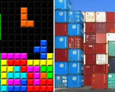 contenedores apilados junto con el juego tetris